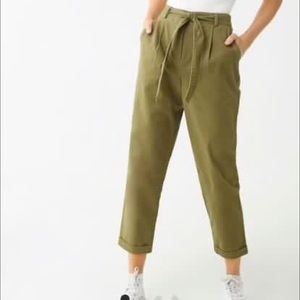 Brand New Olive Belted Cuffed Pants